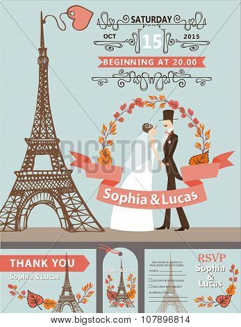 Wedding invitation.Bride, groom,Eiffel tower,autumn wreath