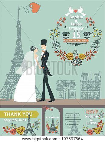 Wedding invitation.Bride, groom,autumn wreath,Eiffel tower