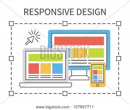 Responsive web design, flat vector.