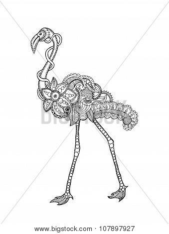 Zentangle Stylized Flamingo.