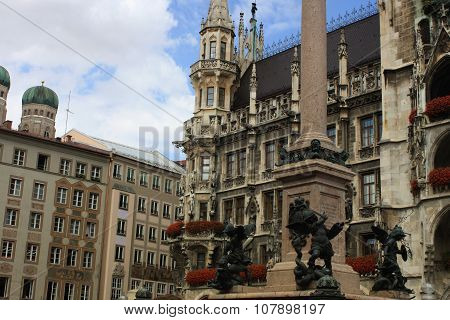 Munich City, Germany And Famous Marienplatz