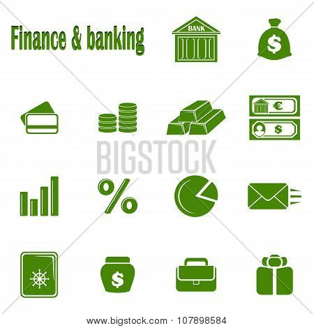 Fourteen monochrome icons Finance & banking