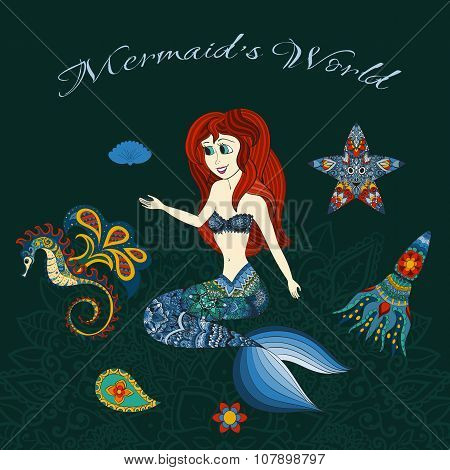 Hand drawn illustration of Ornamental Mermaid. Shaped Mermaid