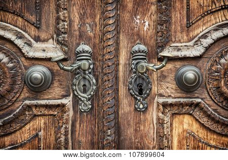 Old Wooden Hand-carved Door