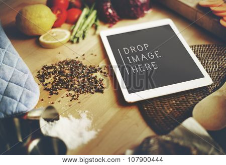 Food Ingredients Preparing Cooking Tablet Concept