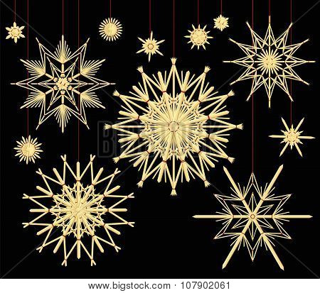 Straw Stars Set Black Background