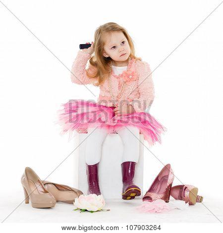 Little Girl With Hairbrush.