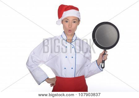 Surprised Asian Chef With Frying Pan And Christmas Hat