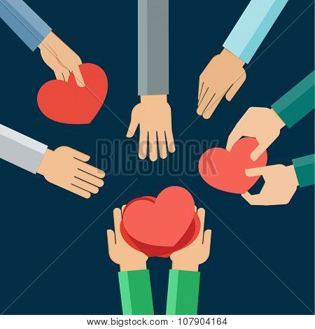 Flat design illustration of hands giving presents in a shape of a heart