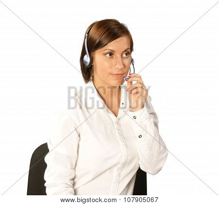 Young Woman In Headphones With Microphone Isolated On White Background