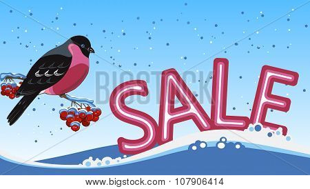 Banner for sale with a bullfinch on the snow background.