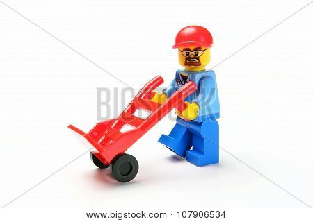 Toy Man Whit Hand Truck A