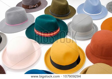 colorful female hat-white background