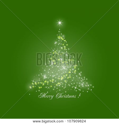 Christmas Tree Of Lights On Green Background