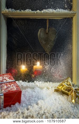 Christmas Decoration On A Window