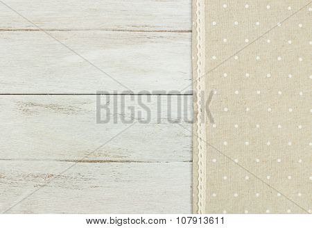 tablecloth on white wooden table.