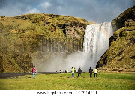 Skogafoss, Beautiful Waterfall In Iceland