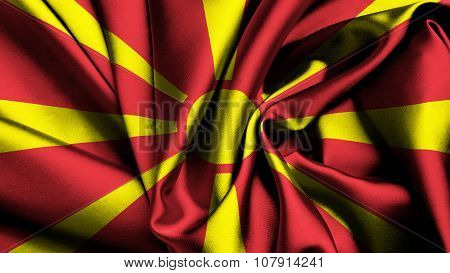 Flag of the Republic of Macedonia, Macedonian Flag painted on silk texture
