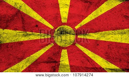 Flag of the Republic of Macedonia, Macedonian Flag painted on wool texture
