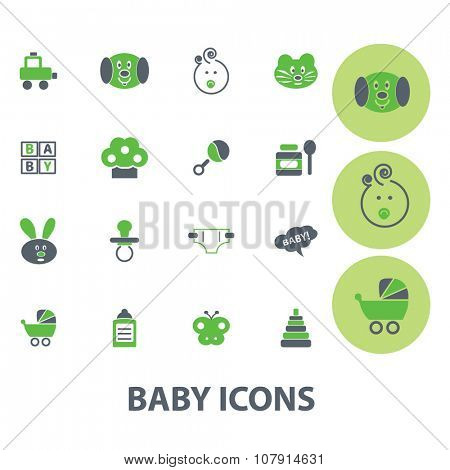 baby, kids, toys, children icons, signs vector concept set for infographics, mobile, website, application