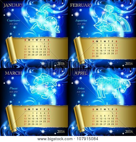 Zodiacal Calendar pages of 2016 for January, February, March, April with luminous zodiacal sign against the blue star space background