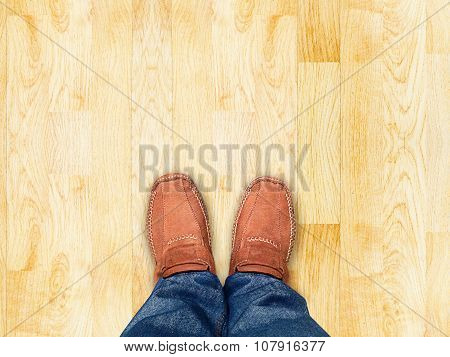 Top View,foot Stand On Wood Parquet Sand Stone ,leave Space For Your Content