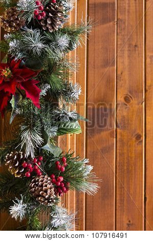 Closeup Of Christmas Decorations On Wooden Wall