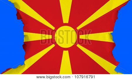 Flag of the Republic of Macedonia, Macedonian Flag painted on paper texture