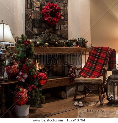 Christmas Interior Design, Burning Fireplace At Home