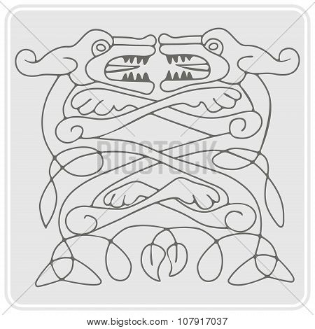 monochrome icon with Celtic art and ethnic ornaments