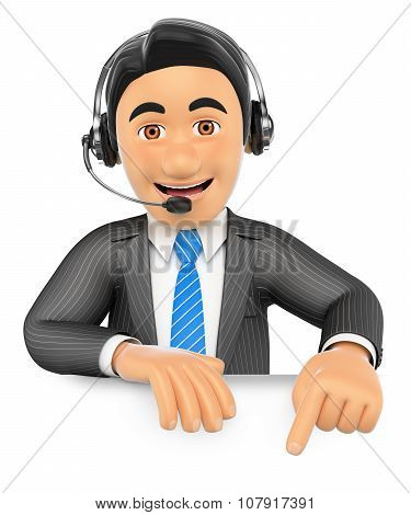 3D Call Center Employee Pointing Down. Blank Space