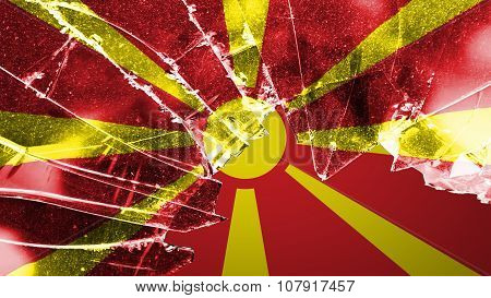 Flag of the Republic of Macedonia, Macedonian Flag painted on broken glass