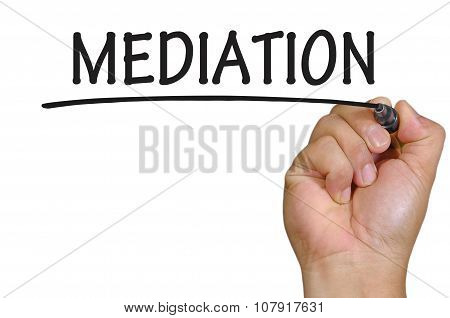 Hand Writing Mediation Over Plain White Background