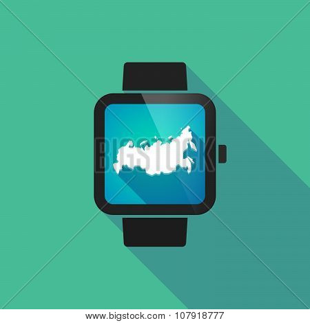Smart Watch Vector Icon With  A Map Of Russia