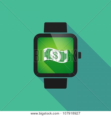 Smart Watch Vector Icon With A Dollar Bank Note