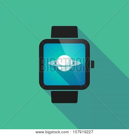 Smart Watch Vector Icon With The Planet Saturn