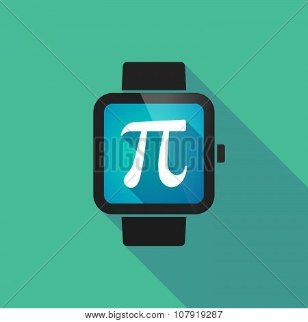 Smart Watch Vector Icon With The Number Pi Symbol