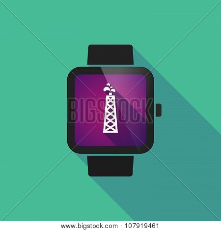 Smart Watch Vector Icon With An Oil Tower