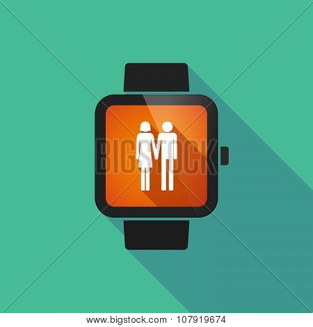 Smart Watch Vector Icon With A Heterosexual Couple Pictogram
