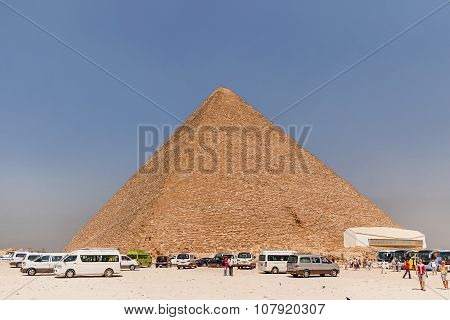 Giza, Egypt - September 11, 2008. Tourists Are Walking Around The Great Pyramid Of Giza.