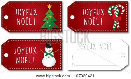 French Christmas Gift Tag Set Vector