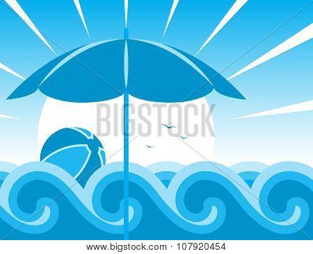 Beach Umbrella And Waves