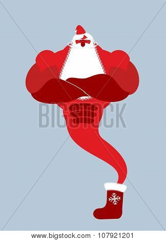 Genie Santa Claus. Magical Christmas Spirit Of Holiday Sock. Powerful Old Man With Beard And Mustach