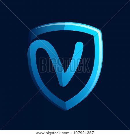 V Letter With Blue Shield.