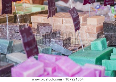 post handmade soaps in a medieval fair, Spain