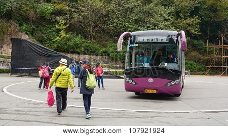 Public Bus On The Station In Changsha, China