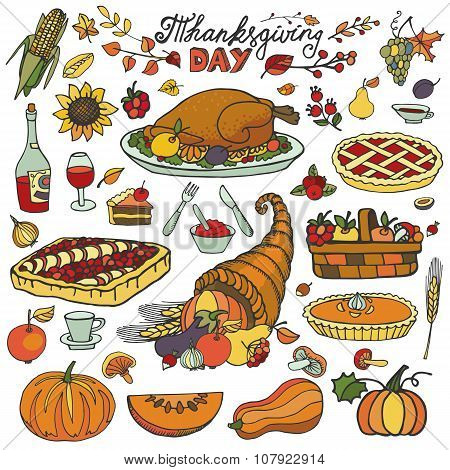 Thanksgiving day.Doodle food icons.Colorful set