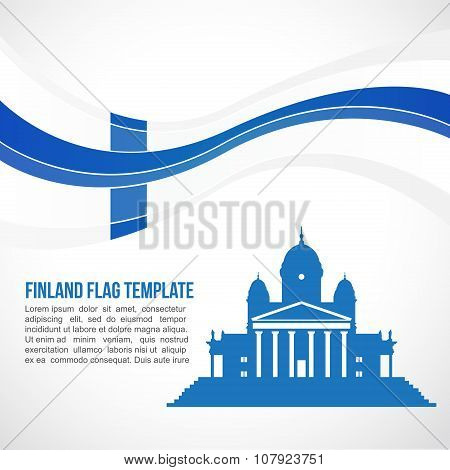 Finland flag wave and The Helsinki Cathedral