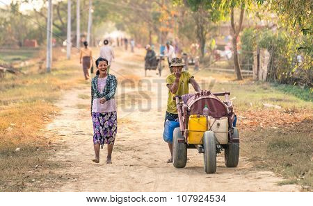 Everyday Life In A Countryside Village In The Area Of Dala near Yangoon Myanmar