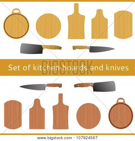 chopping kitchen boards, kitchen knives with a gradient